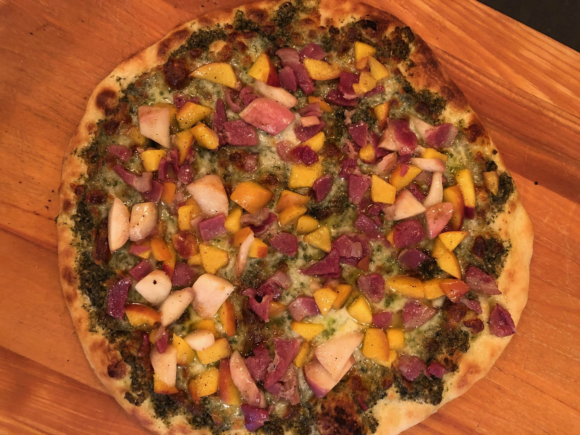 Peaches And Pancetta Pesto Pizza