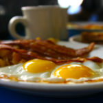 Palte With Bacon & Eggs And Cup Of Coffee
