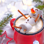 Marshmallow Snowman In A Red Mug Of Cocoa.