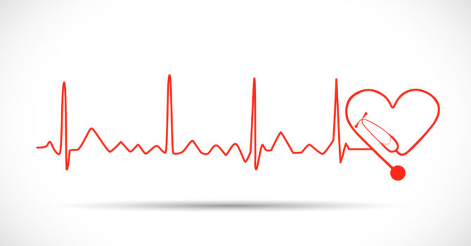Illustration Of A Heart Monitor Wave With Stethoscope Isolated On A White Background.