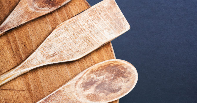 The Word 'recipe' And Three Wooden Spoons